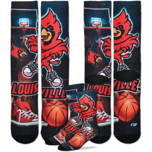 For Bare Feet Men's University of Louisville Mascot Montage Sublimated Crew Socks