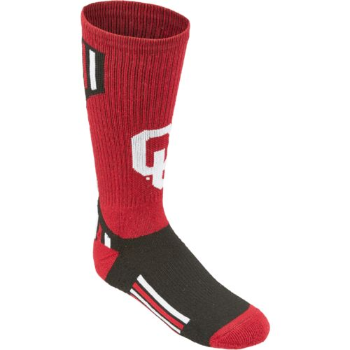 Topsox Boys' University of Oklahoma V-stripe Crew Socks