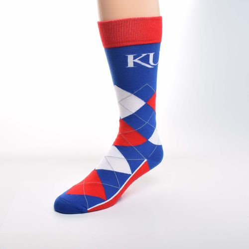 For Bare Feet Unisex University of Kansas Team Pride Flag Top Dress Socks - view number 1