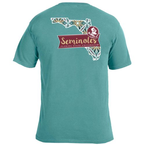 Image One Women's Florida State University Pattern Scroll State T-shirt