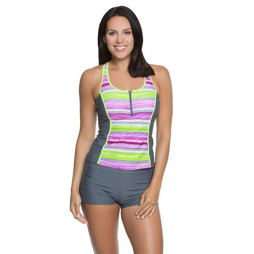 BCG Women's Cuban Stripe Tankini Swim Top