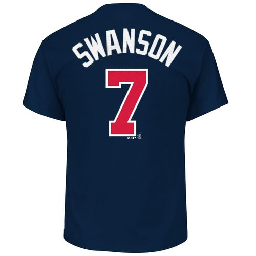 Display product reviews for Majestic Men's Atlanta Braves Dansby Swanson 7 Name and Number T-shirt