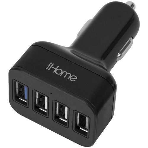 iHome 5.4 amp 4-Port Aluminum Car Charger