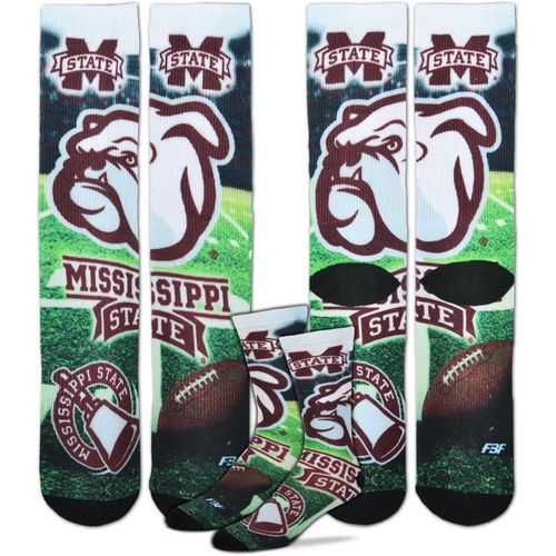 For Bare Feet Men's Mississippi State University Mascot Montage Sublimated Crew Socks