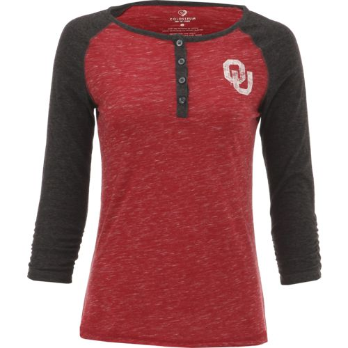 Colosseum Athletics Women's University of Oklahoma Slopestyle 3/4 Sleeve Henley