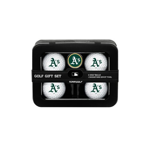 Team Golf Oakland Athletics 4-Ball Tin Gift Set
