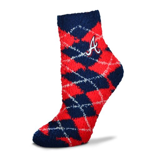 For Bare Feet Women's Atlanta Braves Originals Sleepsoft Quarter-Length Argyle Socks