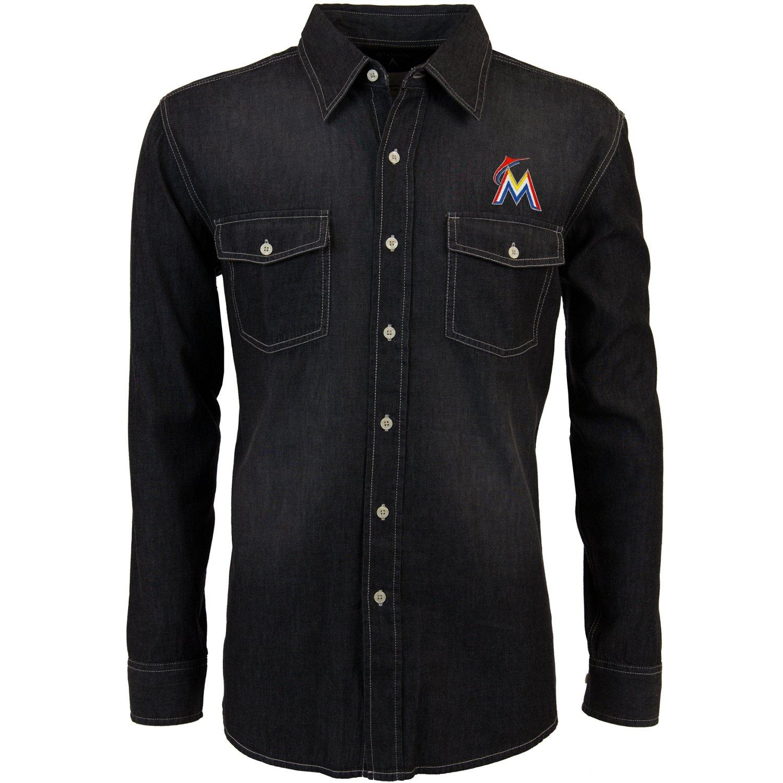 Antigua Men's Miami Marlins Long Sleeve Button Down Chambray Shirt