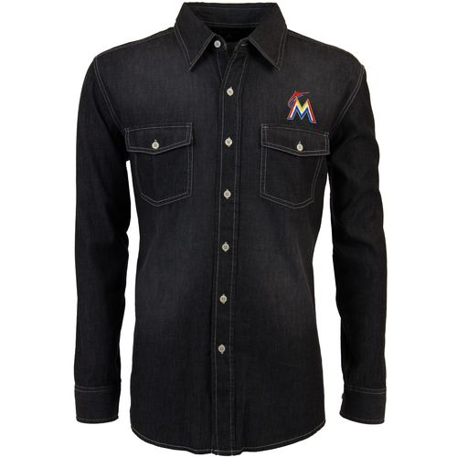 Antigua Men's Miami Marlins Long Sleeve Button Down Chambray Shirt