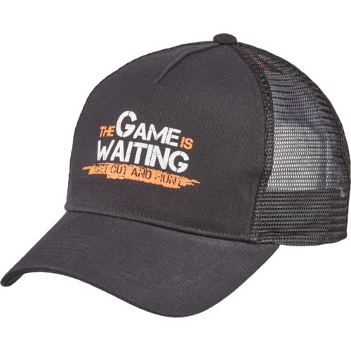 Game Winner® Men's Solid Printed Logo Trucker Hat