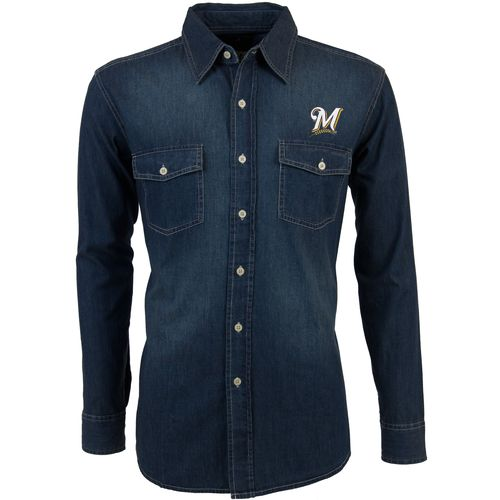 Antigua Men's Milwaukee Brewers Long Sleeve Button Down Chambray Shirt