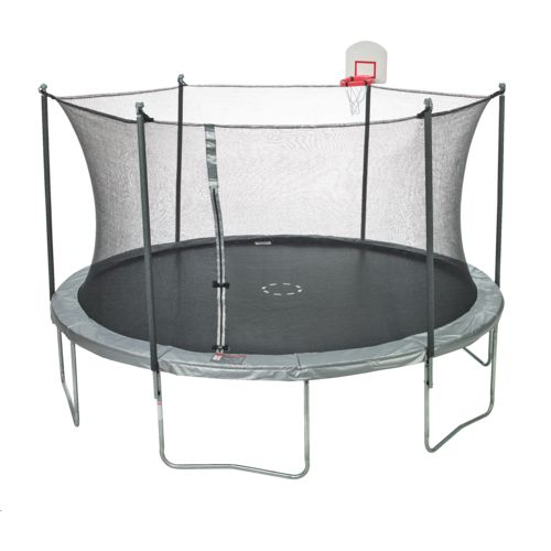 Jump Zone™ 15' Round Trampoline with DunkZone Basketball Hoop & Spinner Flash LiteZone