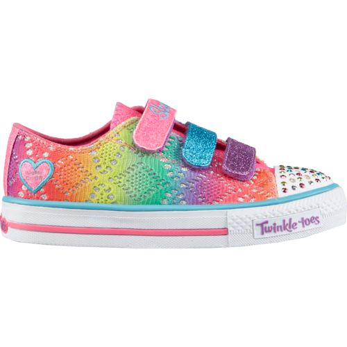 SKECHERS Girls' Twinkle Toes Shuffles Rainbow Madness Shoes