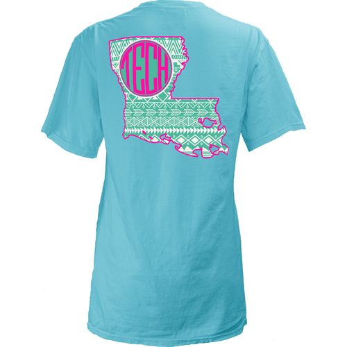 Three Squared Juniors' Louisiana Tech University Moonface Vee T-shirt