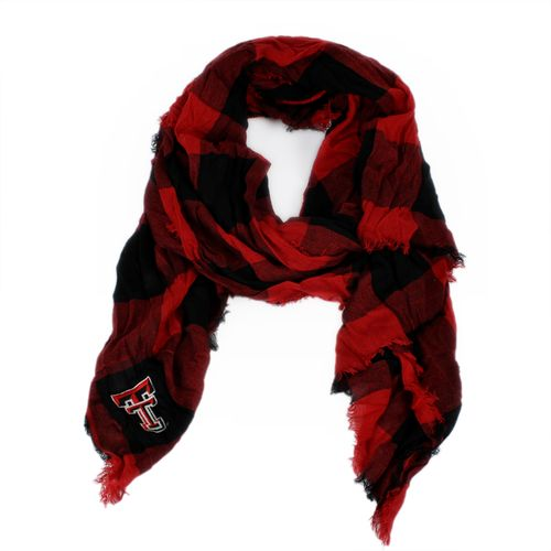 ZooZatz Women's Texas Tech University Buffalo Check Collegiate Scarf