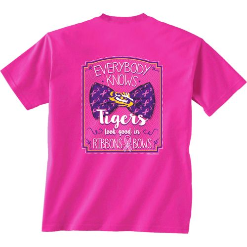 New World Graphics Women's Louisiana State University BCA Ribbon T-shirt