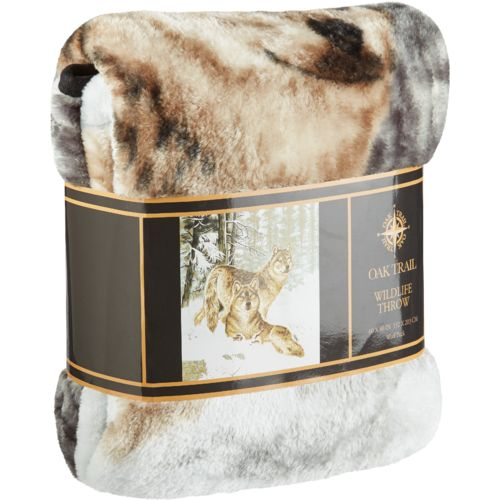 "Oak Trail 60"" x 80"" Wolves Raschel Blanket"