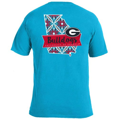 Image One Women's University of Georgia Pattern Scroll State T-shirt