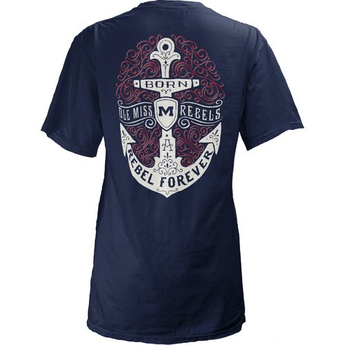 Three Squared Juniors' University of Mississippi Anchor Flourish V-neck T-shirt
