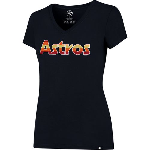 '47 Houston Astros Women's Rainbow Wordmark Splitter V-neck T-shirt