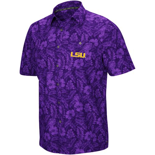 Colosseum Athletics Men's Louisiana State University Ground Rules Camp Button Down Shirt