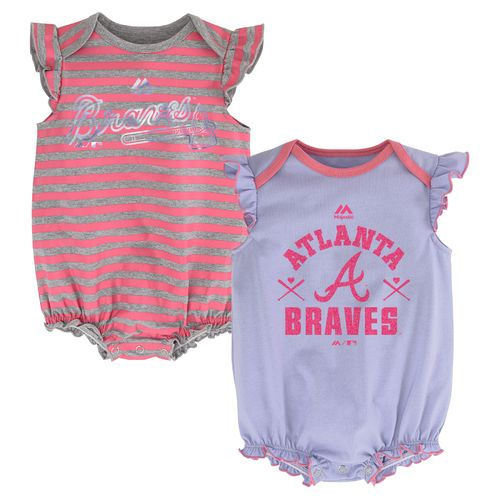 Majestic Infants' Atlanta Braves Team Sparkle Creepers 2-Pack