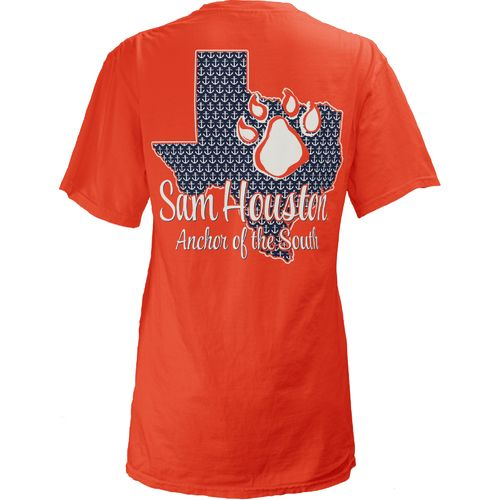 Three Squared Juniors' Sam Houston State University State Monogram Anchor T-shirt