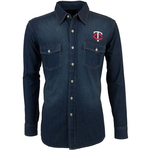 Antigua Men's Minnesota Twins Long Sleeve Button Down Chambray Shirt