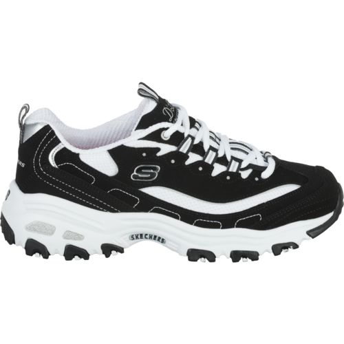 skechers black and white women