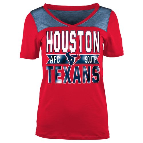 5th & Ocean Clothing Juniors' Houston Texans Foil and Space Dye Fan T-shirt