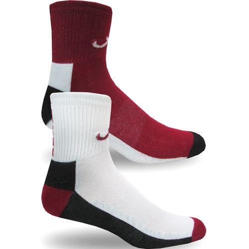 Topsox Men's University of Alabama Broken Stripe Quarter Socks 2 Pairs
