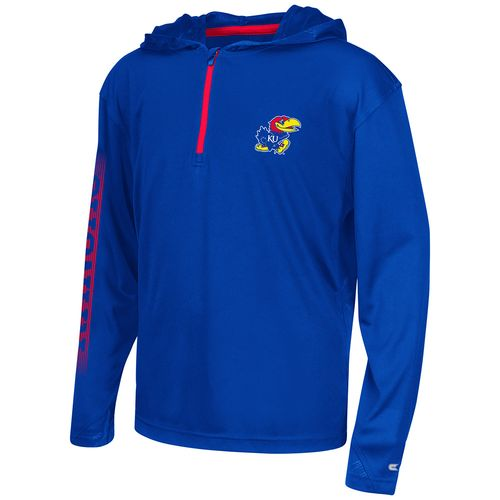 Colosseum Athletics™ Boys' University of Kansas Sleet 1/4 Zip Hoodie Windshirt