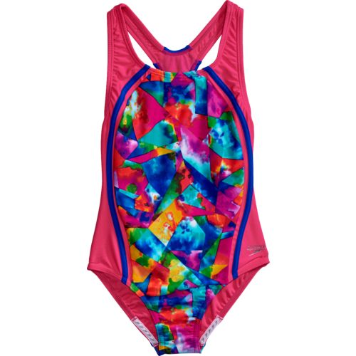 Speedo Girls' Tie-Dye Sky Sport Splice 1-Piece Swimsuit