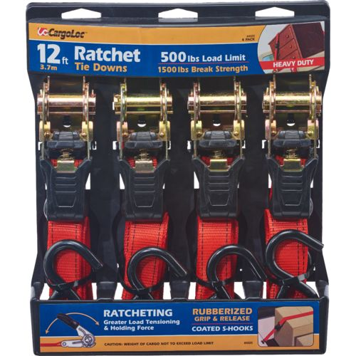 CargoLoc 12' Ratchet Tie-Downs 4-Pack - view number 1