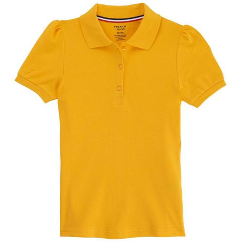 French Toast Girls' Plus Size Short Sleeve Stretch Pique Polo Uniform Shirt