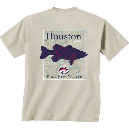 New World Graphics Men's University of Houston Angler Topo Short Sleeve T-shirt