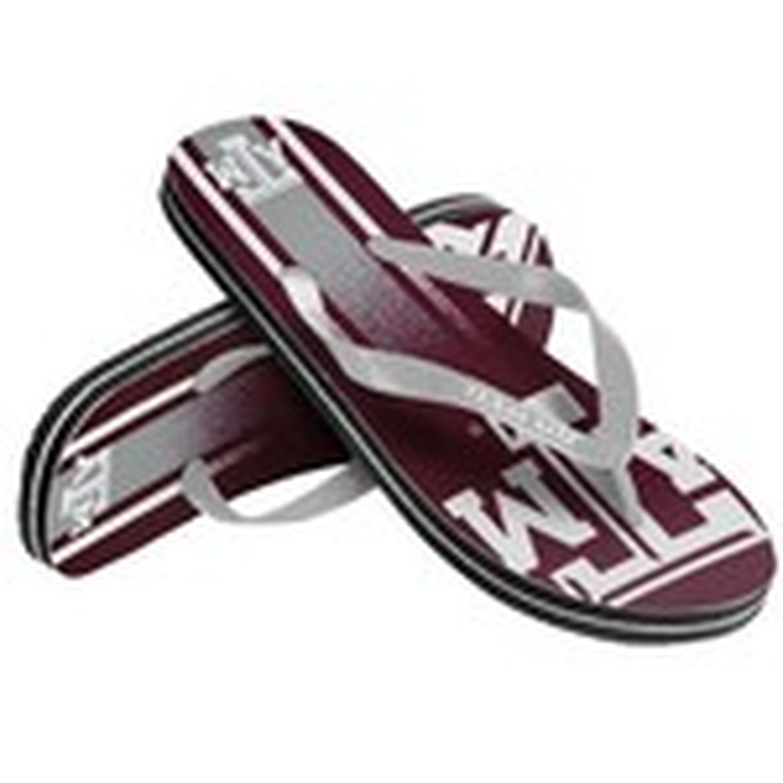 Forever Collectibles™ Kids' Texas A&M University Wordmark Stripe Flip-Flops