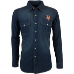 Antigua Men's New York Mets Long Sleeve Button Down Chambray Shirt
