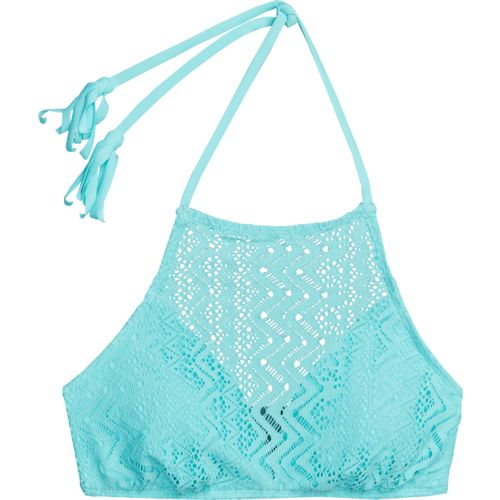 Display product reviews for O'Rageous Juniors' Crochet Flounce Halter Swim Top
