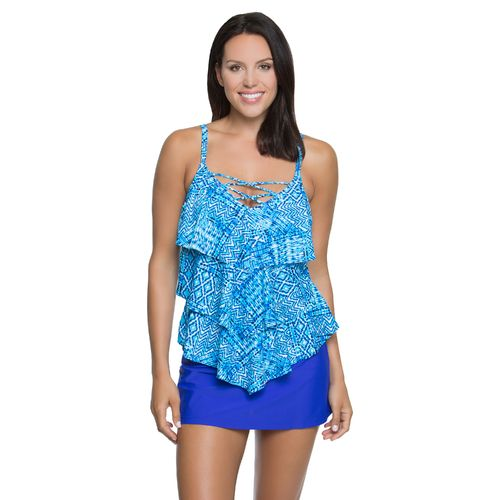 Aqua Couture Women's Boho Tie Tankini Swim Top