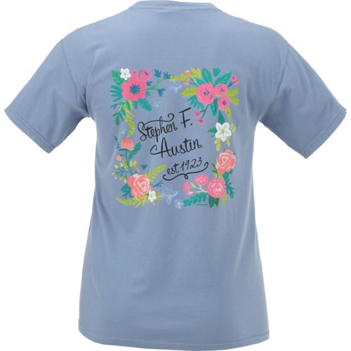 New World Graphics Women's Stephen F. Austin State University Comfort Color Circle Flowers T-shi
