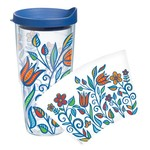 Tervis Molly Z Blue Flowers Wrap 24 oz. Tumbler with Lid