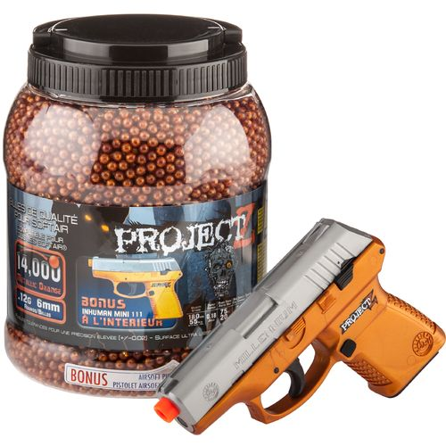 PROJECT Z 14,000-Round Ultrasonic .12-Gram Airsoft Ammo and Mini 111 Spring Pistol Combo