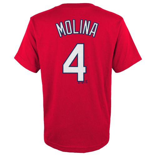 Majestic Boys' St. Louis Cardinals Yadier Molina No. 04 T-shirt
