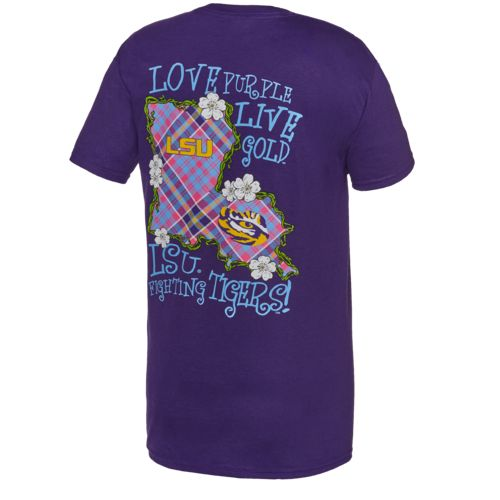 New World Graphics Women's Louisiana State University Bright Plaid T-shirt