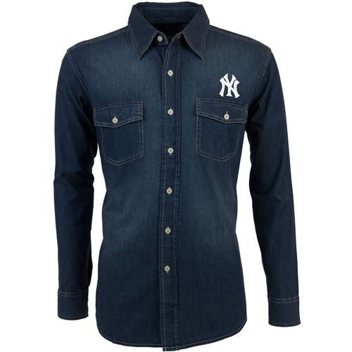 Antigua Men's New York Yankees Long Sleeve Button Down Chambray Shirt