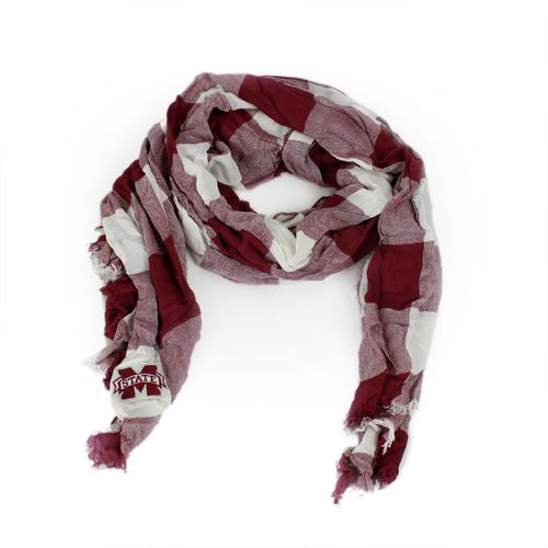 ZooZatz Women's Mississippi State University Buffalo Check Collegiate Scarf