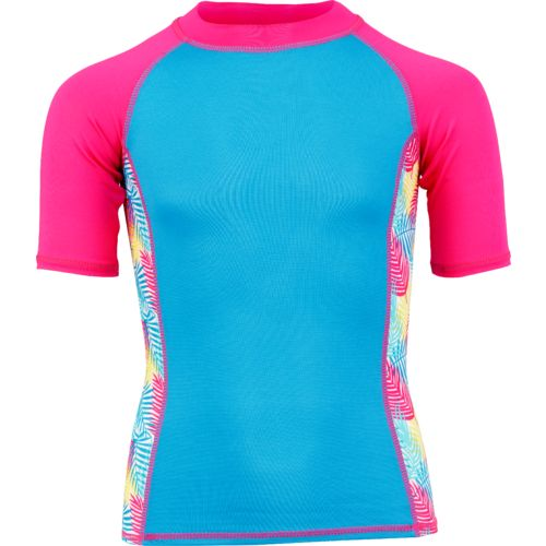 O'Rageous Girls' Palm Print Raglan Short Sleeve Rash Guard