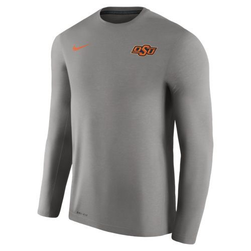 Nike™ Men's Oklahoma State University Dry Top Coaches Long Sleeve T-shirt
