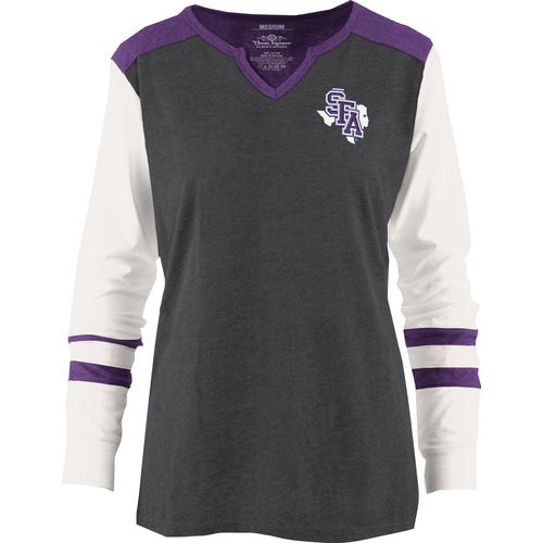Three Squared Juniors' Stephen F. Austin State University Mia Raglan Long Sleeve Henley Shirt